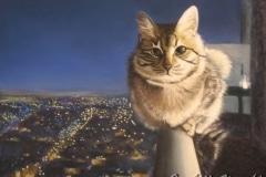 chat sur la rambarde